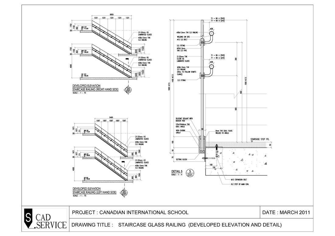 Canadian School Staircase Glass Railing - S-CAD (2D ...